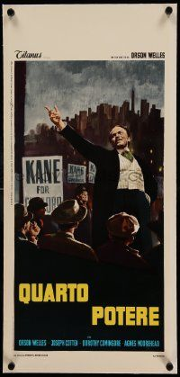 6t291 CITIZEN KANE linen Italian locandina R66 different art of Orson Welles campaigning!