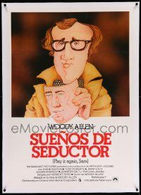 6t299 PLAY IT AGAIN, SAM linen Spanish R80 different cartoon art of Woody Allen with Bogart mask!
