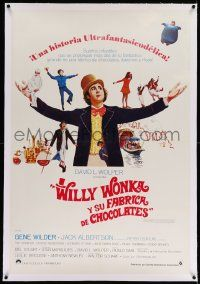 6t304 WILLY WONKA & THE CHOCOLATE FACTORY linen Spanish '71 great image of Gene Wilder & top cast!