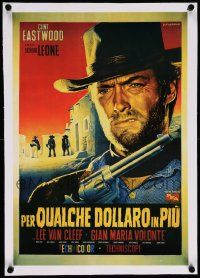 6t127 FOR A FEW DOLLARS MORE linen 15x21 REPRO poster '90s Fiorenzi art of Eastwood from Italian 1p