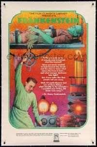 6t126 FRANKENSTEIN linen 30x46 book promo poster '74 cool Melo artwork of mad scientist and monster!