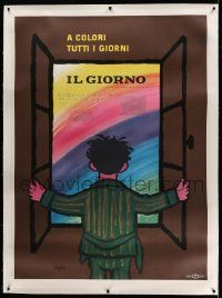 6t063 IL GIORNO linen 40x55 Italian advertising poster '65 great colorful art by Raymond Savignac!