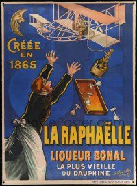 6t064 LA RAPHAELLE linen 45x61 French advertising poster 1908 great Rosetti early airplane art!