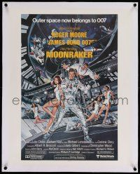 6t053 MOONRAKER linen 21x27 special '79 art of Roger Moore as Bond in space by Goozee!