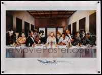 6t134 RENATO CASARO linen printer's test 21x29 Spanish special '88 Marilyn at head of Last Supper!