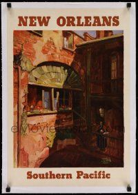 6t073 SOUTHERN PACIFIC NEW ORLEANS linen 16x23 travel poster '29 wonderful art by Maurice Logan!