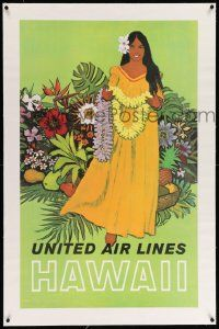 6t075 UNITED AIR LINES HAWAII linen 25x40 travel poster '60s Galli art of native girl holding lei!