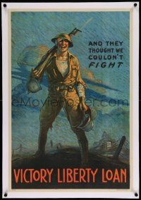 6t077 AND THEY THOUGHT WE COULDN'T FIGHT linen 20x30 WWI war poster '17 great art by Clyde Forsythe!