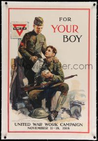 6t079 FOR YOUR BOY linen 20x30 WWI war poster '18 art of soldiers at YMCA by Arthur William Brown!