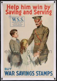6t080 HELP HIM WIN BY SAVING & SERVING linen 20x30 WWI war poster '18 buy war savings stamps!