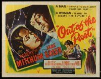 6w135 OUT OF THE PAST style A 1/2sh '47 great art of smoking Robert Mitchum & Jane Greer, rare!