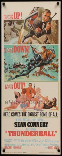 6w144 THUNDERBALL insert '65 art of Sean Connery as James Bond 007 by McGinnis & McCarthy, rare!