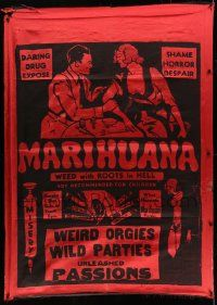 6w110 MARIHUANA silk banner 35 Dwain Esper daring drug expose The Weed with Roots in Hell rare