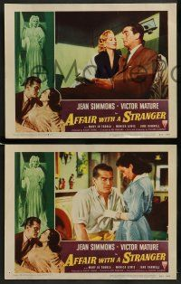 6z034 AFFAIR WITH A STRANGER 8 revised LCs '53 pretty Jean Simmons, Victor Mature!