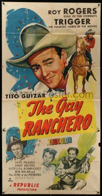 7f281 GAY RANCHERO 3sh '48 Roy Rogers c/u & on Trigger, Tito Guizar, Jane Frazee, Andy Devine