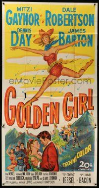 7f292 GOLDEN GIRL 3sh '51 art of sexy Mitzi Gaynor, Dale Robertson & Dennis Day, musical!