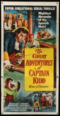 7f300 GREAT ADVENTURES OF CAPTAIN KIDD 3sh '53 pirates, swashbuckling super-serial!