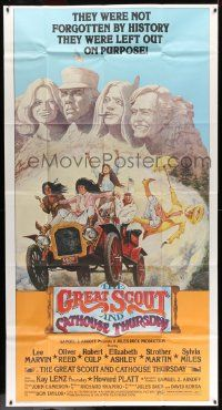 7f303 GREAT SCOUT & CATHOUSE THURSDAY 3sh '76 wacky art of Lee Marvin & cast at Mount Rushmore!