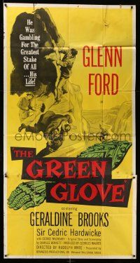 7f305 GREEN GLOVE 3sh '52 every man is Glenn Ford's enemy & every woman is a trap, cool art!