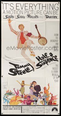 7f309 HALF A SIXPENCE 3sh '68 McGinnis art of Tommy Steele with banjo, from H.G. Wells novel!