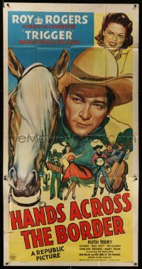 7f312 HANDS ACROSS THE BORDER 3sh '43 wonderful art of cowboy Roy Rogers, Trigger & Ruth Terry!
