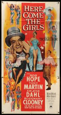 7f319 HERE COME THE GIRLS 3sh '53 Bob Hope, Tony Martin & most beautiful showgirls!