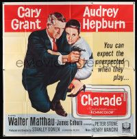 7f017 CHARADE 6sh '63 completely different c/u image of Cary Grant & sexy Audrey Hepburn, rare!