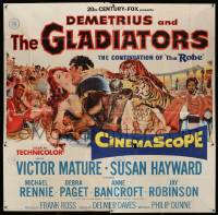 7f022 DEMETRIUS & THE GLADIATORS 6sh '54 Victor Mature & Susan Hayward in sequel to The Robe!