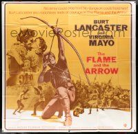 7f032 FLAME & THE ARROW int'l 6sh R71 Burt Lancaster with bow & arrow + kissing sexy Virginia Mayo!