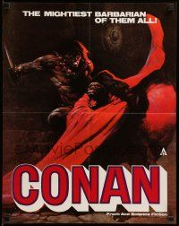 7g001 CONAN THE BARBARIAN promo brochure '82 opens to Frazetta poster for release of 12 books!
