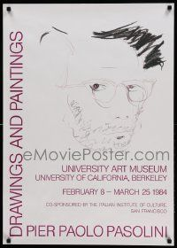 7g013 PIER PAOLO PASOLINI DRAWINGS AND PAINTINGS 24x34 museum/art exhibition '84 self portrait!