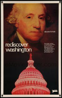 7g028 AMTRAK REDISCOVER WASHINGTON 25x40 travel poster '70s image of the 1st President, Capitol!