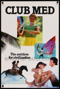 7g032 CLUB MEDITERRANEE 20x30 travel poster '80s great image of woman with bow and arrows!