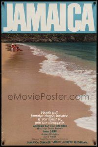 7g034 JAMAICA 25x38 travel poster '90 great scene with couple relaxing on the beach!