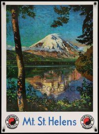 7g036 NORTHERN PACIFIC MT. ST. HELENS REPRO 21x29 travel poster '80s Krollmann art before eruption!