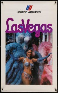 7g038 UNITED AIRLINES LAS VEGAS 25x40 travel poster '75 cool image of sexy showgirl in costume!