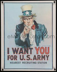 7g003 I WANT YOU FOR U.S. ARMY 22x28 war poster '75 iconic art by James Montgomery Flagg!