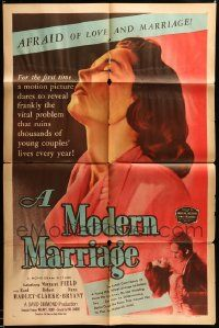 7h036 LOT OF 5 FOLDED MODERN MARRIAGE ONE-SHEETS '50 Margaret Field is afraid of love & marriage!