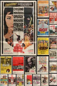 7h008 LOT OF 48 FOLDED ONE-SHEETS '60s great images from a variety of different movies!