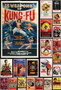 7h034 LOT OF 32 FOLDED KUNG FU ONE-SHEETS '70s-80s many great images from martial arts movies!