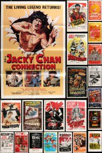 7h032 LOT OF 61 FOLDED KUNG FU ONE-SHEETS '70s-80s many great images from martial arts movies!
