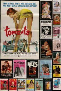 7h031 LOT OF 57 FOLDED SEXPLOITATION ONE-SHEETS '60s-80s great images from a sexy movies!