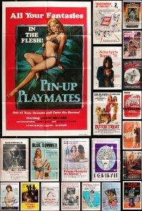 7h029 LOT OF 74 FOLDED SEXPLOITATION ONE-SHEETS '60s-80s great images from a sexy movies!