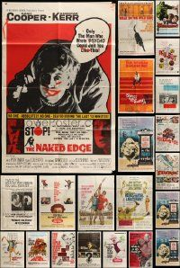 7h021 LOT OF 28 FOLDED 1960S ONE-SHEETS '60s great images from a variety of different movies!