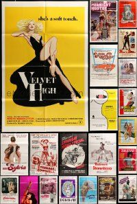 7h028 LOT OF 83 FOLDED SEXPLOITATION ONE-SHEETS '60s-80s great images from a sexy movies!