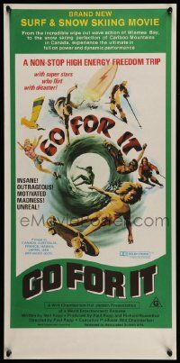 7j022 GO FOR IT Aust daybill '76 cool surfing, skateboarding & extreme sports art!