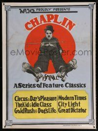 7j034 CHAPLIN Indian '73 image of Charlie with cane wearing roller skates!