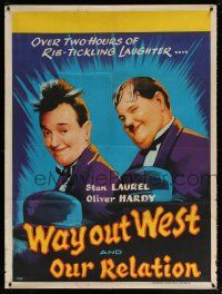 7j040 WAY OUT WEST/OUR RELATIONS Indian '60s great VAS artwork of Stan Laurel & Oliver Hardy!