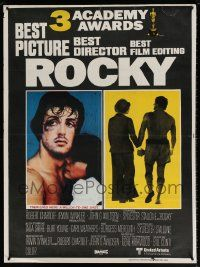 7j032 ROCKY Pakistani '76 boxer Sylvester Stallone holding hands with Talia Shire, boxing classic!