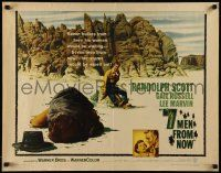 7k007 7 MEN FROM NOW 1/2sh '56 Budd Boetticher, cool image of Randolph Scott after shootout!